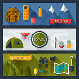 Tourist banners with camping equipment in flat Royalty Free Stock Photos
