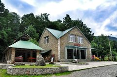 Tourist base for the rest of the Walnut grove. At the foot of the Caucasus mountains, Gumshoe gorge farm Guamka, Krasnodar region Stock Photos