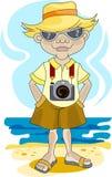 Tourist on a beach Royalty Free Stock Photo