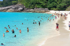 Tourist on the beach at Koh Miang in Mu Koh Similan, Thailand Stock Photography