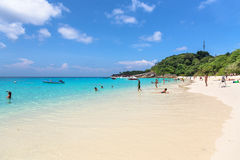 Tourist on the beach at Koh Miang in Mu Koh Similan, Thailand Stock Photos