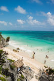 Tourist beach in Tulum. Beautiful beach in Tulum, Mexico Stock Image