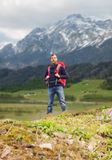 Tourist with beard and backpack Royalty Free Stock Images
