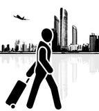 Tourist beeilt sich zum Flughafen ikone Lizenzfreies Stockfoto