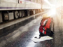 Tourist belongings on floor at Chiang Mai train station Stock Image