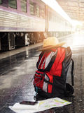 Tourist belongings on floor at Chiang Mai train station, Stock Image