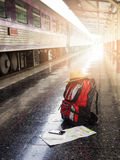 Tourist belongings on floor at Chiang Mai train station Royalty Free Stock Image