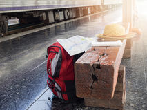 Tourist belongings on floor at Chiang Mai train station, Royalty Free Stock Photo