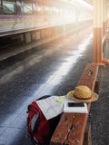Tourist belongings on floor at Chiang Mai train station, Royalty Free Stock Image
