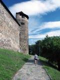 Tourist below Zvolen Castle, Slovakia stock photo