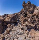 Tourist am Berg Teide, Teneriffa, Kanarische Insel, Spanien lizenzfreies stockfoto