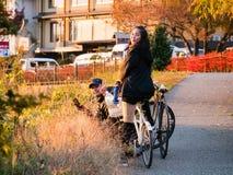 Tourist with bicycle. Kawaguchi, Japan - November 1, 2018: Tourist with bicycle near lake Kawaguchi, Japan for sightseeing royalty free stock photos