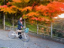 Tourist with bicycle. Kawaguchi, Japan - November 1, 2018: Tourist with bicycle near lake Kawaguchi, Japan for sightseeing stock images