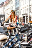 Tourist with bicycle in the old town Royalty Free Stock Photo