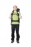 Tourist with big backpack standing Royalty Free Stock Photos