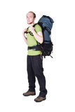 Tourist with big backpack standing Royalty Free Stock Images