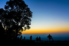 Tourist and big tree silhouetted. With stunning sunset Stock Photography