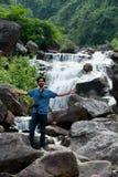 Tourist at Bindu waterfalls Stock Images