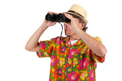 Tourist with binocular Royalty Free Stock Images