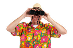 Tourist with binocular Stock Image