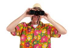 Tourist with binocular Stock Image