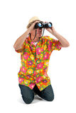 Tourist with binocular Royalty Free Stock Image