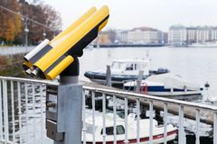 Tourist binocular telescope in Geneva Royalty Free Stock Photos