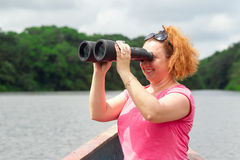 Tourist With Binocular Royalty Free Stock Photos