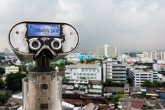 Tourist binoculars at high point view Royalty Free Stock Image