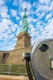 Tourist binoculars at Statue of Liberty, New York City , USA . Stock Photo