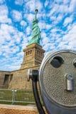 Tourist binoculars at Statue of Liberty, New York City , USA . Stock Image
