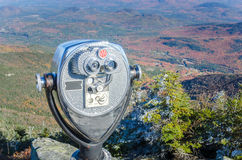 Tourist Binoculars on the Top of Mountain. On a Sunny Autumn Day with a Forest Landscape in Background. Whiteface Mountain. NY Royalty Free Stock Photo