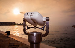 Tourist binoculars. View of tourist binoculars in the Trieste seaboard Stock Photo