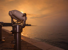 Tourist binoculars. View of tourist binoculars in the Trieste seaboard Royalty Free Stock Images