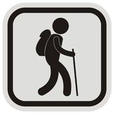 Tourist, black vector icon, silhouette of male,gray and black frame Royalty Free Stock Images