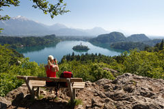 Tourist in Bled, Slovenia Royalty Free Stock Photos