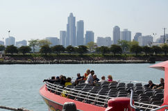 Tourist board a speed boat on lake michigan Stock Images