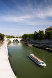 Tourist Boat. On the Tiber river, Rome Royalty Free Stock Photos