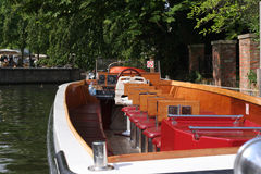 Tourist Boat. Tourist riverboat on canal in Bruges, Belgium royalty free stock photos