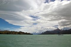 Tourist boat in the Argentino Lake, Argentina Stock Photos