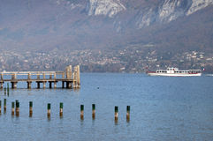 Tourist boat on Annecy lake Royalty Free Stock Photo