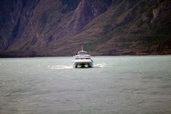 Tourist boat in the Argentino Lake, Argentina Stock Images