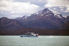 Tourist boat in the Argentino Lake, Argentina Stock Photography