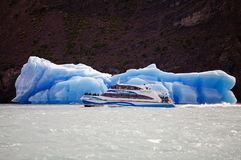Tourist boat in the Argentino Lake, Argentina Royalty Free Stock Images