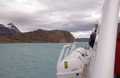 Tourist boat in the Argentino Lake, Argentina Stock Photo