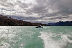 Tourist boat in the Argentino Lake, Argentina Stock Image