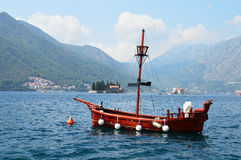 Tourist boat in the bay of Kotor Royalty Free Stock Images