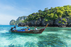 Tourist on boat with beautiful landscape of sea ocean and islands of Phi Phi Krabi Phuket. Stock Photo