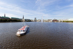 Tourist boat on Binnenalster lake at Hamburg Royalty Free Stock Image