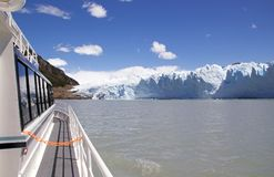 Tourist boat in the Brazo Rico in Argentino Lake at the Los Glaciares National Park, Patagonia, Argentina. Tourist boat in Brazo Rico in the Argentino Lake in Royalty Free Stock Images
